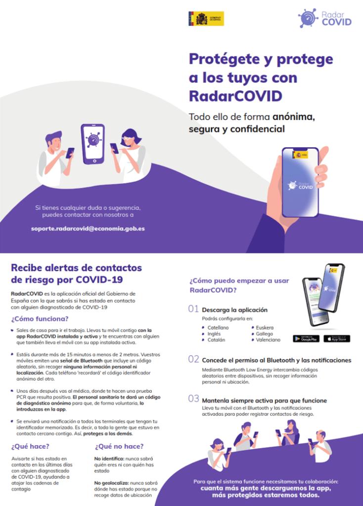 Más instrucciones Radar Covid