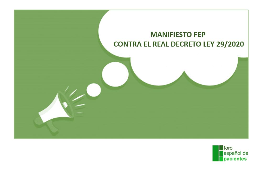 Manifiesto FEP contra el Real Decreto Ley 29/2020